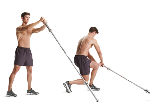 barbell twist with lunge